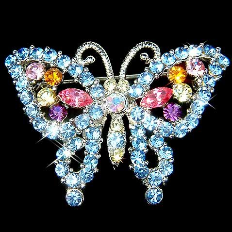 Something Blue Butterfly Swarovski Crystal Brooch