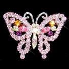 Pink Butterfly Swarovski Crystal Brooch