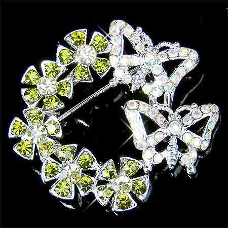 Green Flower Wreath Butterfly Swarovski Crystal Brooch