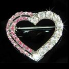 Pink Cutout Heart Swarovski Crystal Brooch