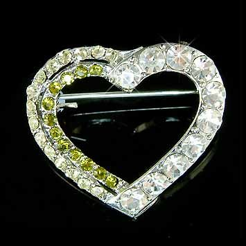 Green Cutout Heart Swarovski Crystal Brooch