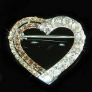 Brown Topaz Cutout Heart Swarovski Crystal Brooch
