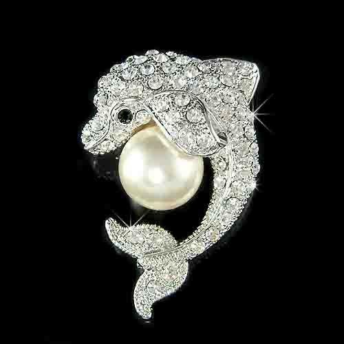 Playful Swarovski Crystal & Pearl Dolphin Brooch
