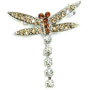 Topaz Gold Brown Dragonfly Swarovski Crystal Brooch