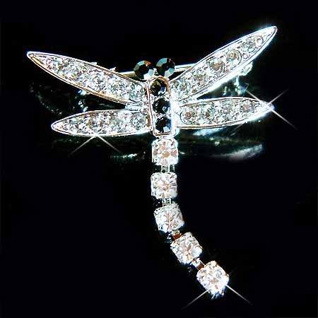 Black Dragonfly Swarovski Crystal Brooch