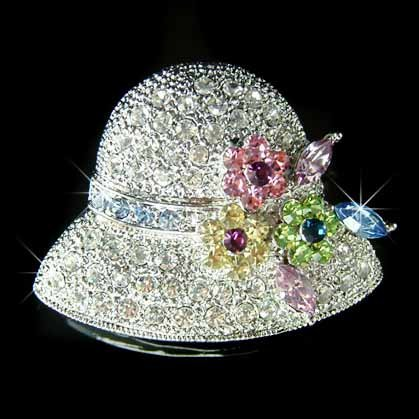 20's Style Flower Lady Hat Swarovski Crystal Brooch