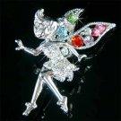 Pastel Tinkerbell Fairy Wing Swarovski Crystal Brooch