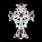Christening Gift! Jesus Christ Cross Swarovski Crystal Brooch