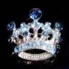 Something Blue Crown Cross Swarovski Crystal Brooch