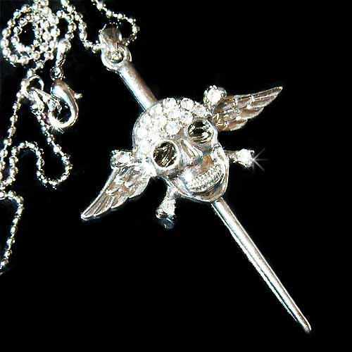 Skull with Crossbone & Axe Swarovski Crystal Necklace