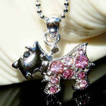 Scottie Scottish Terrier Dog Swarovski Crystal Necklace