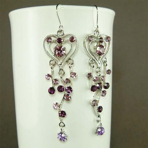 Purple Heart Vine Bridal Wedding Swarovski Crystal Earrings