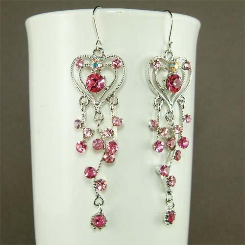 Pink Heart Vine Bridal Wedding Swarovski Crystal Earrings