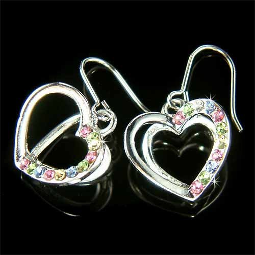 3D Rainbow Heart Swarovski Crystal Earrings