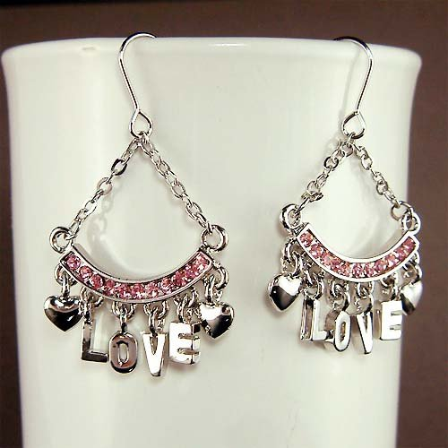 Swarovski Crystal Pink LOVE Letter Heart Modern Dangle Earrings