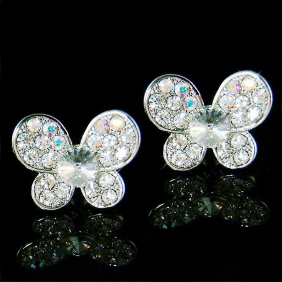 Clear Bridal Wedding Swarovski Crystal Butterfly Stud Earrings