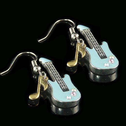 Rock Electric Guitar Music Note Swarovski Crystal Earrings