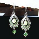 Green Bridal Swarovski Crystal and Swarovski Pearl Earrings