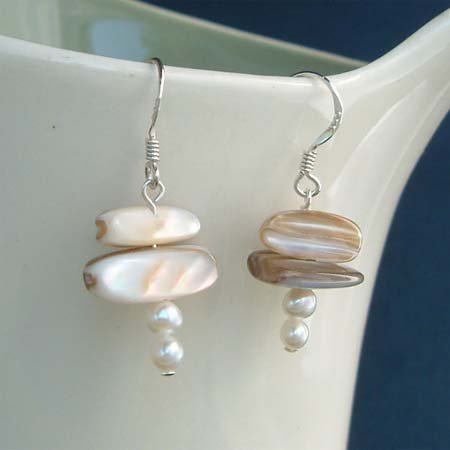 Bridal Shell and Freshwater Pearl Sterling Silver Earrings