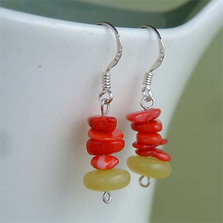 Red Coral & Olive New Jade Sterling Silver Earrings