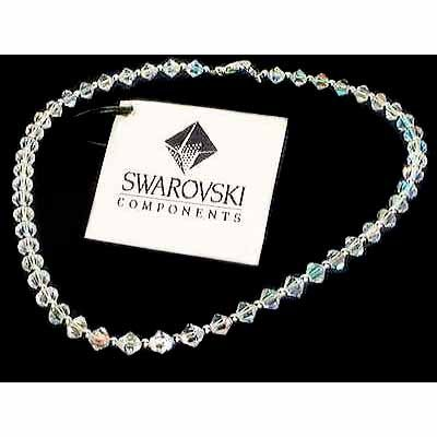 Clear Simple Swarovski Crystal Sterling Silver Necklace