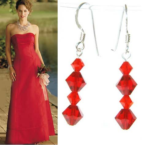 Hot Red Bridal Swarovski Crystal Sterling Silver Earrings