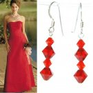 Hot Red Bridal Swarovski Crystal Sterling Silver Earrings