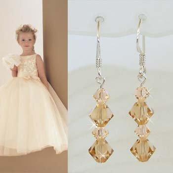 Light Peach Bridal Swarovski Crystal Sterling Silver Earrings