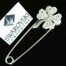 Clear Lucky Clover Swarovski Crystal Pin