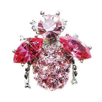 Bumble Bee Beetle Pink Swarovski Crystal Brooch