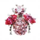 Bumble Bee Beetle Pink Swarovski Crystal Brooch