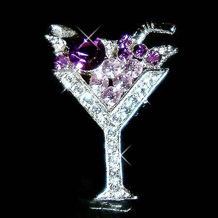 Martini Wine Glass Swarovski Crystal Brooch for Party