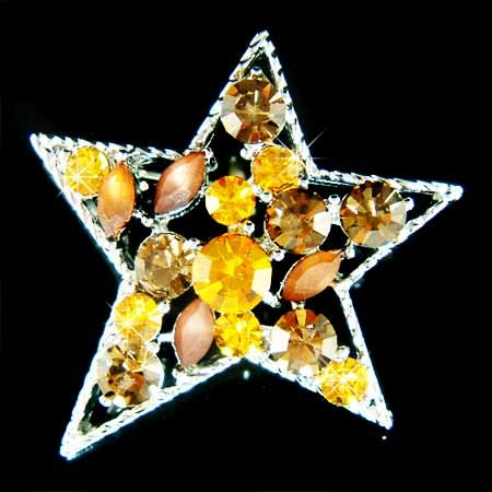 Topaz Gold Brown Sparkling Star Swarovski Crystal Brooch