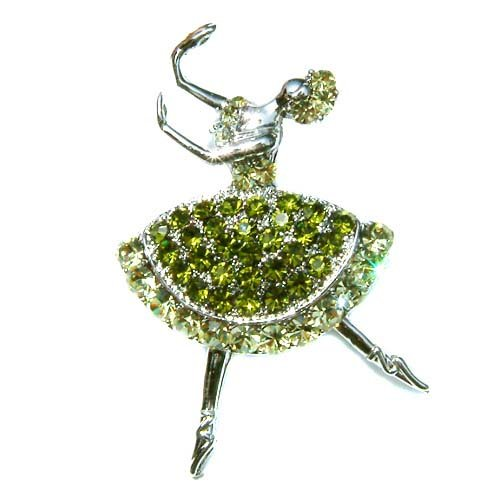 Olive Green Ballerina / Ballet Dancer Swarovski Crystal Brooch