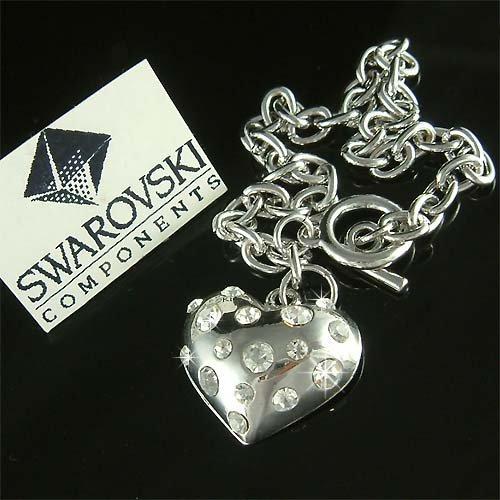 Clear Bridal Puffed Heart Swarovski Crystal Toggle Bracelet