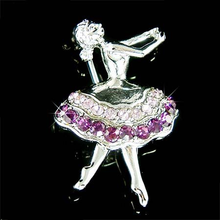 Purple Ballerina / Ballet Dancer Swarovski Crystal Brooch
