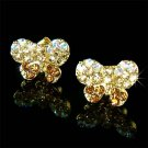 Topaz Gold Bridal Butterfly Swarovski Crystal Stud Earrings