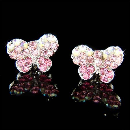 Pink Bridal Butterfly Swarovski Crystal Stud Earrings