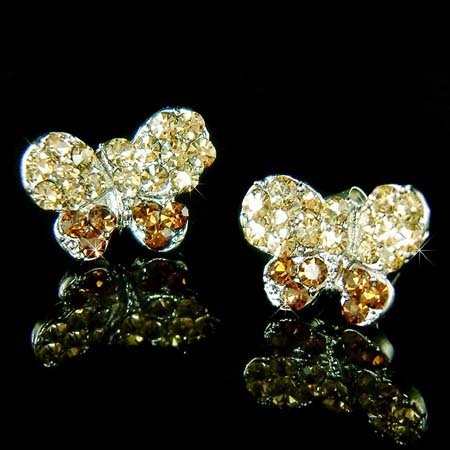 Topaz Gold Bridal Butterfly Swarovski Crystal Stud Earrings