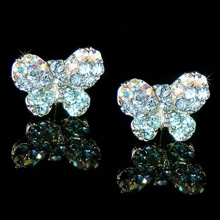 Something Blue Bridal Butterfly Swarovski Crystal Stud Earrings