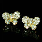 Clear Bridal Butterfly Swarovski Crystal Gold Stud Earrings