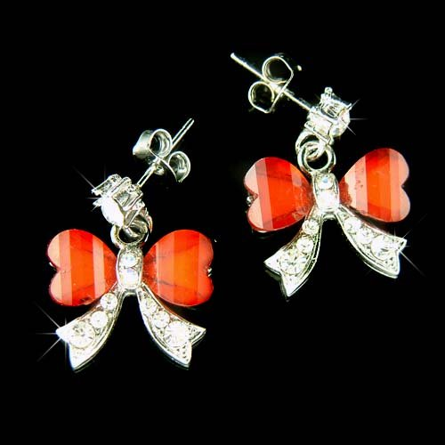 Christmas Greatest Hit Love Knot Bow Swarovski Crystal Earrings