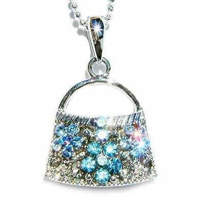 Aqua Handbag Swarovski Crystal Necklace