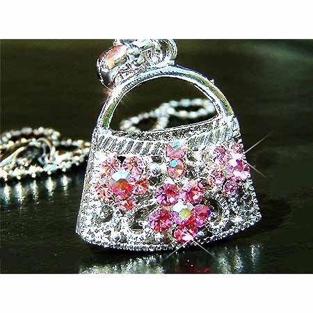 Pink Rose Handbag Purse Swarovski Crystal Pendant Necklace
