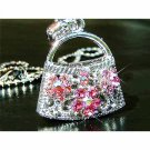 Pink Rose Handbag Purse Swarovski Crystal Pendant Necklace