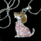 Pink Beagle Dog Swarovski Crystal Necklace