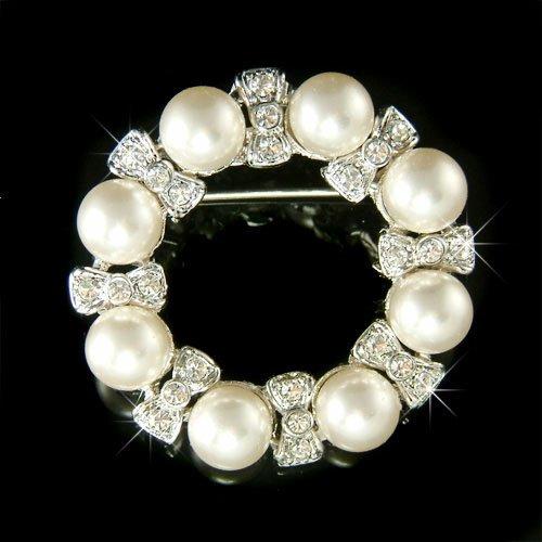 Pearl Flower Wreath Swarovski Crystal Brooch