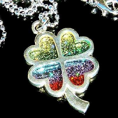Rainbow Glitter Four LEAF CLOVER Shamrock Pendant Necklace