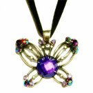 Brass Antique Purple Swarovski Crystal Butterfly Velvet Necklace