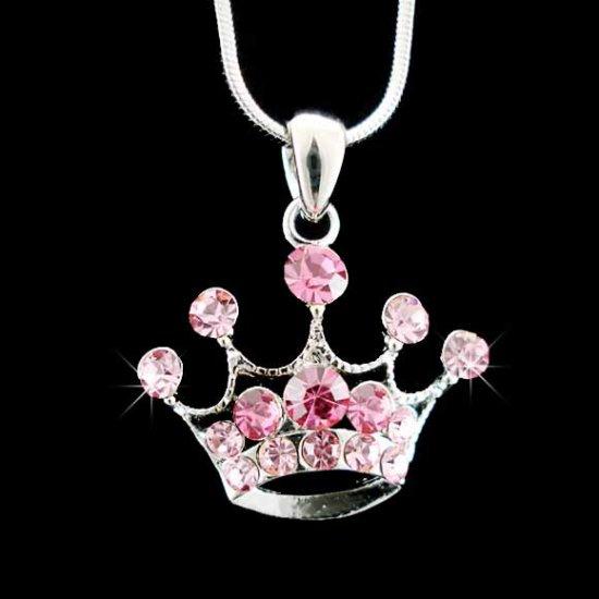 Girly Pink Crown Swarovski Crystal Necklace